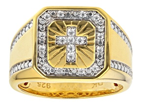 Pre-Owned White Cubic Zirconia 18K Yellow Gold Over Sterling Silver Men's Cross Ring 0.37ctw
