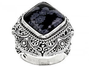 Pre-Owned Black Snowflake Obsidian Sterling Silver Ring
