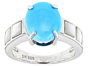 Pre-Owned Blue Sleeping Beauty Turquoise Rhodium Over Silver Ring