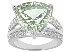 Pre-Owned Green Brazilian Prasiolite And White Topaz Rhodium Over Sterling Silver Ring 7.61ctw
