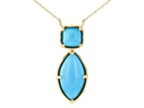 Pre-Owned Blue Sleeping Beauty Turquoise 10k Yellow Gold Necklace 15x8mm