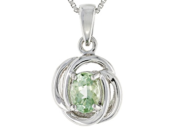 Picture of Pre-Owned Green Amblygonite Sterling Silver Pendant With Chain .68ct