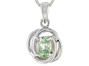 Pre-Owned Green Amblygonite Sterling Silver Pendant With Chain .68ct