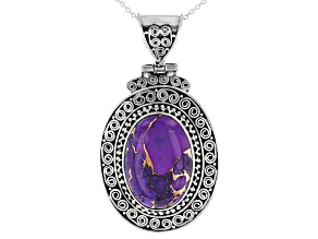 Pre-Owned Purple Turquoise Sterling Silver Solitaire Pendant And Chain