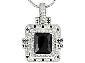 Pre-Owned Black And White Cubic Zirconia Platineve Pendant With Chain 8.24ctw