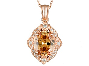 Pre-Owned Champagne And White Cubic Zirconia 18k Rose Gold Over Silver Pendant With Chain 4.35ctw