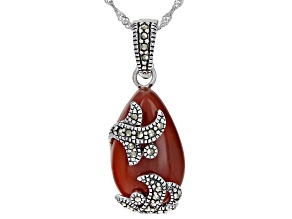 Pre-Owned Red onyx rhodium over sterling silver enchancer with chain