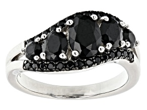 Pre-Owned Oval and round black spinel rhodium over sterling silver ring. 1.94ctw