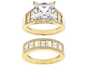 Pre-Owned White Cubic Zirconia 18K Yellow Gold Over Sterling Silver Ring With Band 12.49ctw
