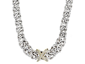 Pre-Owned White Diamond Accent Rhodium & 18k Yellow Gold Over Sterling Silver Necklace .10ctw
