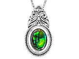 Pre-Owned Black Ethiopian Opal Sterling Silver Slide With Chain .60ct