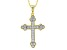 Pre-Owned White Cubic Zirconia 18k Yellow Gold Over Sterling Silver Cross Pendant With Chain .95ctw
