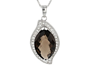 Pre-Owned Brown Smoky Quartz Sterling Silver Pendant With Chain 8.49ctw