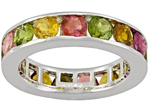 Pre-Owned Multi Tourmaline 3.50ctw Round, Rhodium Over Sterling Silver Ring