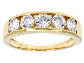 Pre-Owned White Cubic Zirconia 18K Yellow Gold Over Sterling Silver Band Ring 2.30ctw