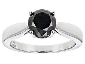 Pre-Owned Black Diamond Rhodium Over Sterling Silver Solitaire Ring 2.00ctw
