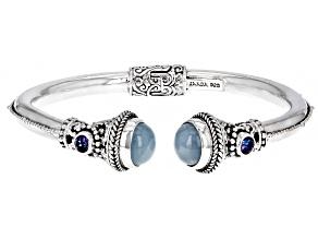 Pre-Owned Blue Aquamarine Sterling Silver Bracelet .54ctw
