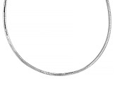 Pre-Owned Rhodium Over Sterling Silver 3mm Omega Necklace 18 Inches.