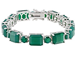 Pre-Owned Green Onyx Rhodium Over Sterling Silver Bracelet 31.54ctw