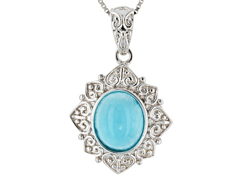 Pre-Owned Blue Hemimorphite Sterling Silver Solitaire Pendant With Chain
