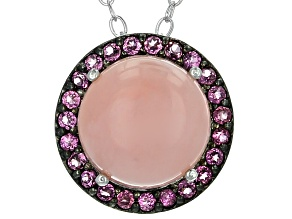 Pre-Owned Pink Peruvian Opal Silver Slide With Chain .18ctw