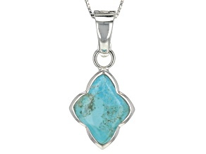 Pre-Owned Blue Turquoise Sterling Silver Enhancer With Chain