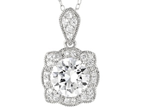 Pre-Owned White Cubic Zirconia Platineve Pendant With Chain 3.45ctw