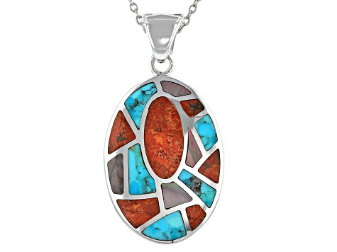 Pre-Owned Coral, Turquoise and Mother-of-Pearl Rhodium Over Silver Enhancer W/ Chain
