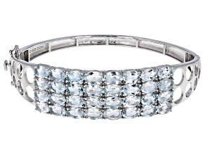 Pre-Owned Aquamarine Rhodium Over Sterling Silver Bracelet 11.52ctw