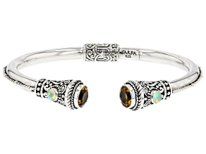 Pre-Owned Yellow Citrine Sterling Silver Cuff Bracelet 3.26ctw