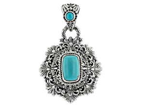 Pre-Owned Turquoise Blue Kingman Silver Pendant