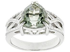 Pre-Owned Green Amethyst Rhodium Over Sterling Silver Ring 2.55ct