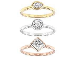 Pre-Owned Moissanite platineve with 14k rose and yellow gold over silver ring set of three 1.93ctw D