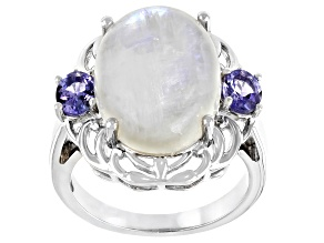 Pre-Owned White Rainbow Moonstone Rhodium Over Sterling Silver Ring 0.68ctw