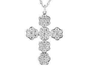 Pre-Owned White Cubic Zirconia Rhodium Over Sterling Silver Cross Pendant With Chain 2.66ctw