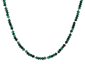 Pre-Owned Green malachite rhodium over sterling silver necklace