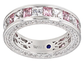 Pre-Owned Pink And White Cubic Zirconia Platineve Ring 9.10ctw