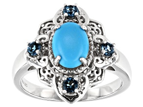 Pre-Owned Blue Turquoise Rhodium Over Sterling Silver Ring .31ctw