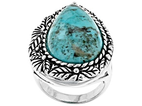 Pre-Owned Turquoise Rhodium Over Silver Floral Solitaire Ring