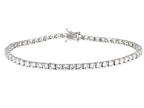 Pre-Owned White Cubic Zirconia Rhodium Over Sterling Silver Anklet 25.16ctw