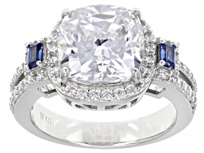 Pre-Owned Blue And White Cubic Zirconia Rhodium Over Sterling Silver Ring 7.46ctw