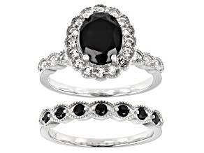 Pre-Owned Black Spinel Rhodium Over Sterling Silver Ring and Band Set 2.45ctw