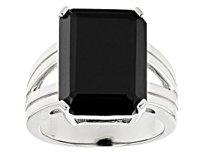 Pre-Owned Black Spinel Rhodium Over Sterling Silver Solitaire Ring 10.75ct