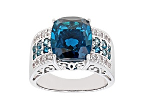 Pre-Owned London Blue Topaz Rhodium Over Sterling Silver Ring 6.94ctw