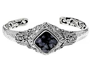 Pre-Owned Black Snowflake Obsidian Sterling Silver Bracelet
