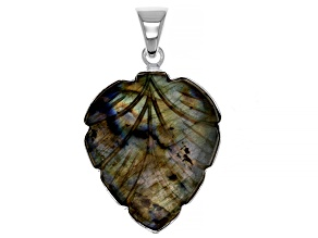 Pre-Owned Carved Labradorite Sterling Silver Leaf Pendant