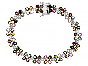 Pre-Owned Multi Color Tourmaline  Rhodium Over Sterling Silver Bracelet 12.50ctw