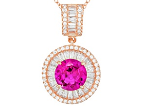 Pre-Owned Pink And White Cubic Zirconia 18k Rose Gold Over Sterling Silver Pendant 7.11ctw
