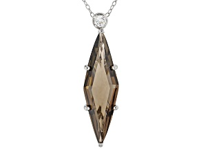 Pre-Owned Brown Smoky Quartz Sterling Silver Pendant With Chain 5.73ctw