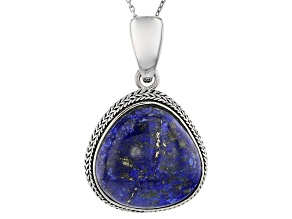 Pre-Owned Blue Lapis Lazuli Sterling Silver Enhancer With Chain